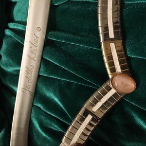Judith Leiber Vintage White Leather Stone Belt